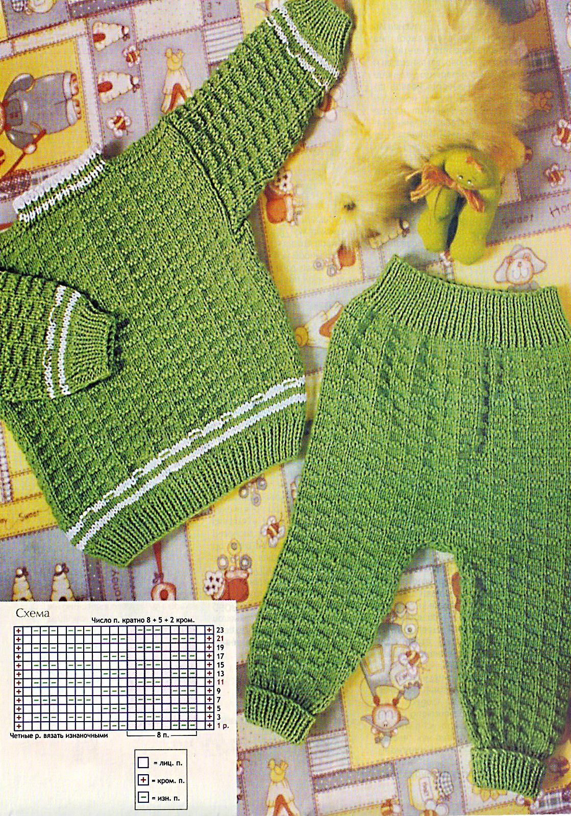 Кофточка и штанишки для малыша МАТЕРИАЛЫ: 220 г тонкой акриловой пряжи зеленого цвета, 30 г пряжи белого цвета, 3...