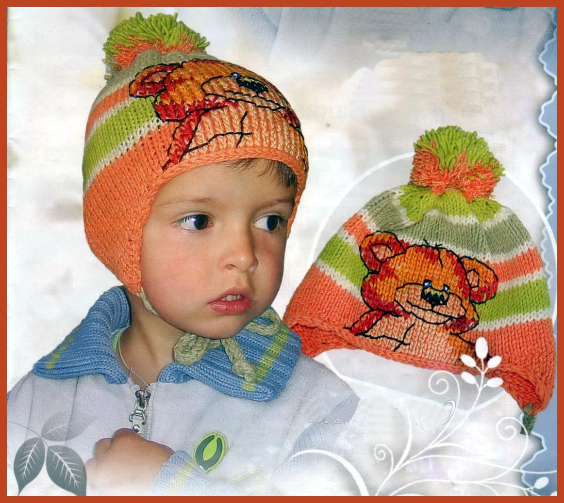 Вязание шапок спицами для мальчиков.