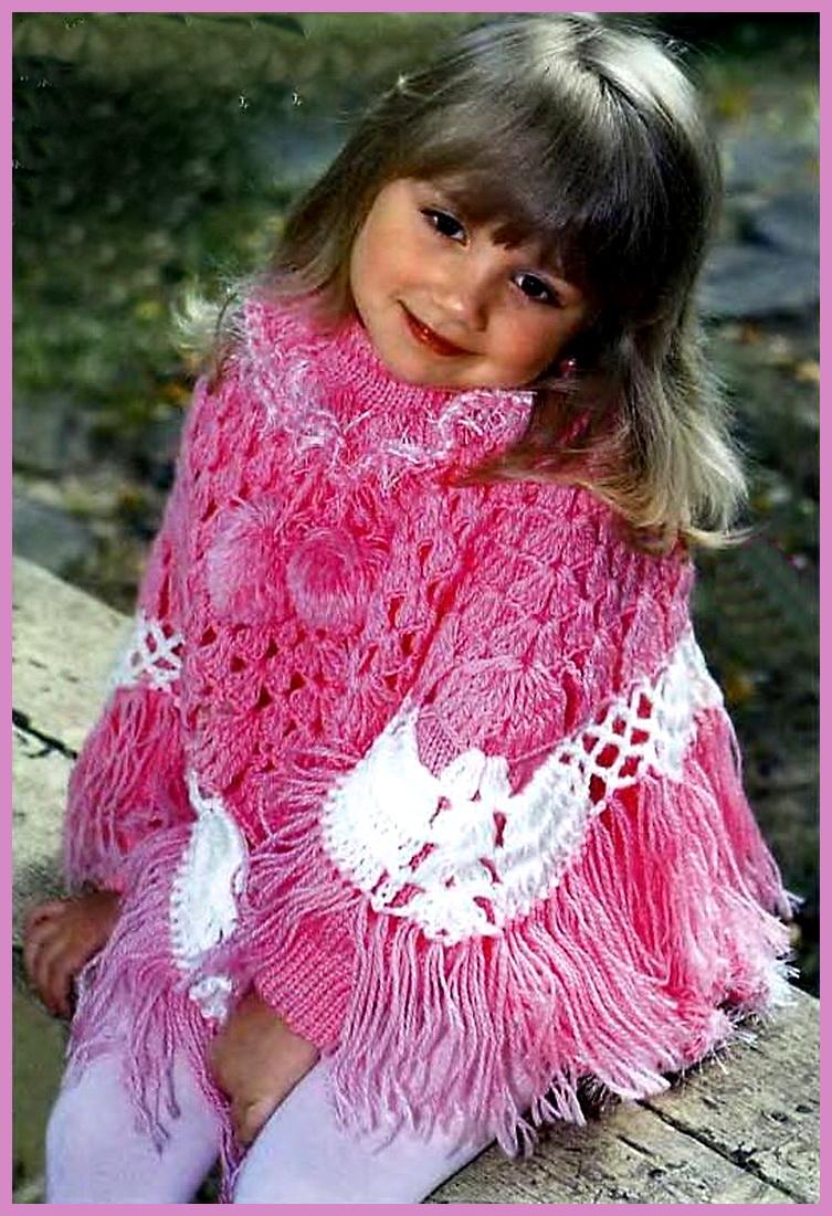 Пончо для девочки из рубрики Вязание. вышивка лентой васильки мк.  Ажурная шапочка для девочки крючок.