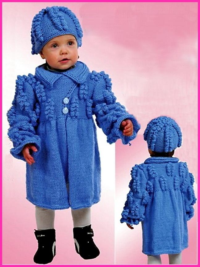 Очень нарядное вязаное пальто