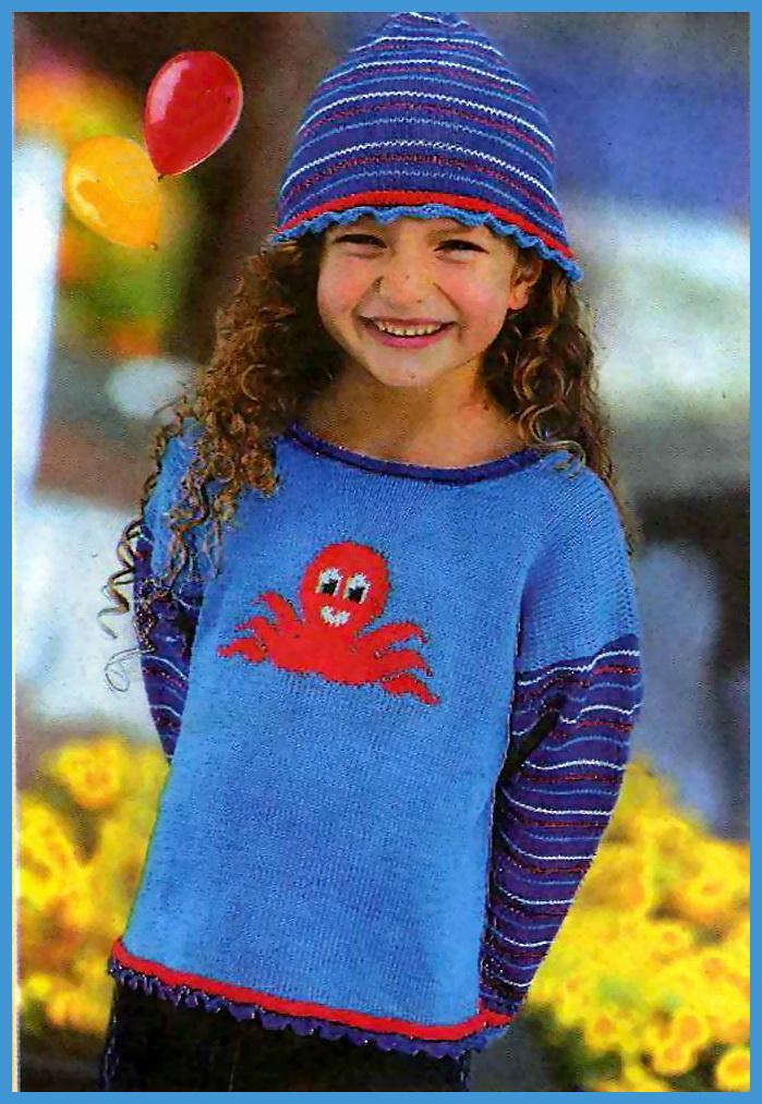 Пуловер с осьминожкой и шапочка для девочки.