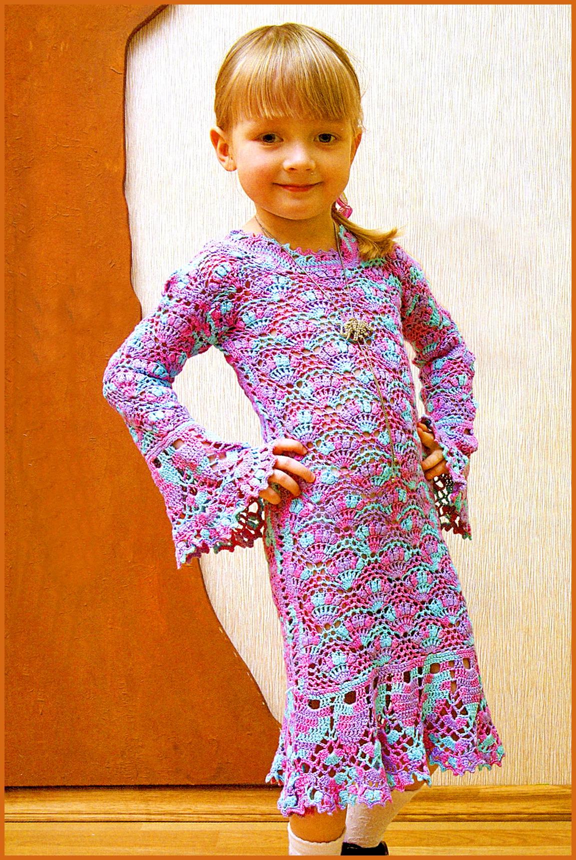 Вязаные платья сарафаны для девочек