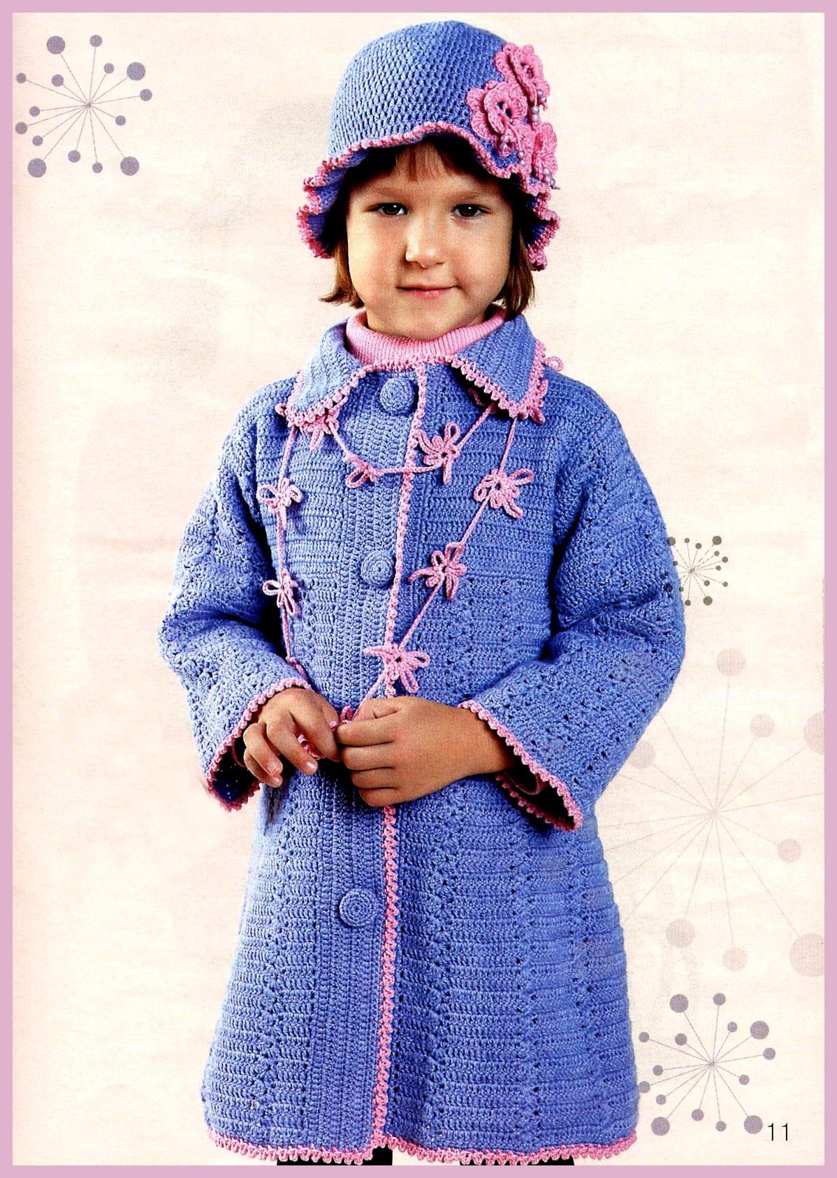 Детские вязаные пальто 90