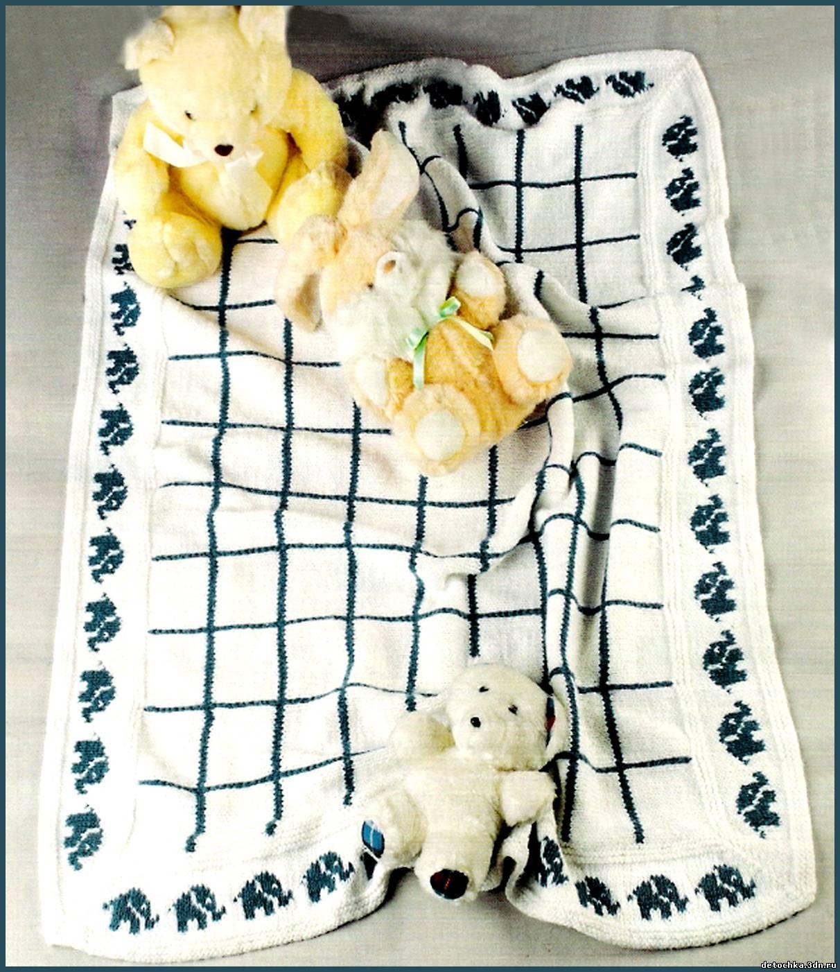 Красивое вязаное одеяло для новорожденного вяжем своими руками.