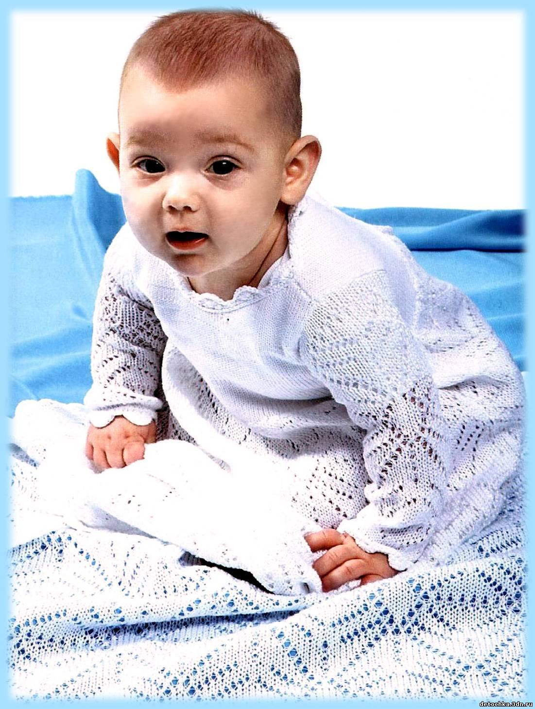 Одеяло спицами для новорожденного