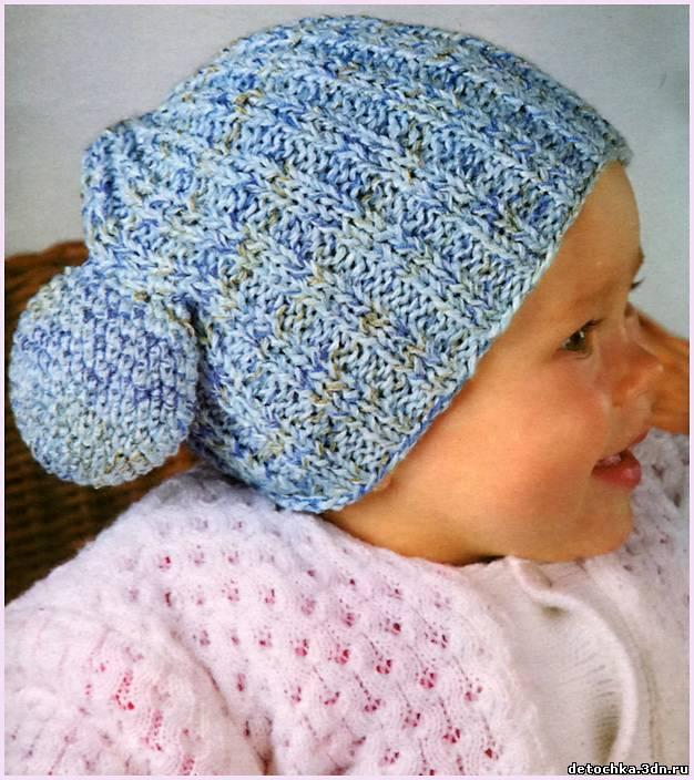 Вязаная детская шапочка для малыша из