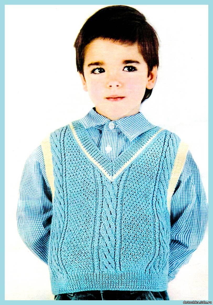 схема вязания детских жилетов спицами для девочек