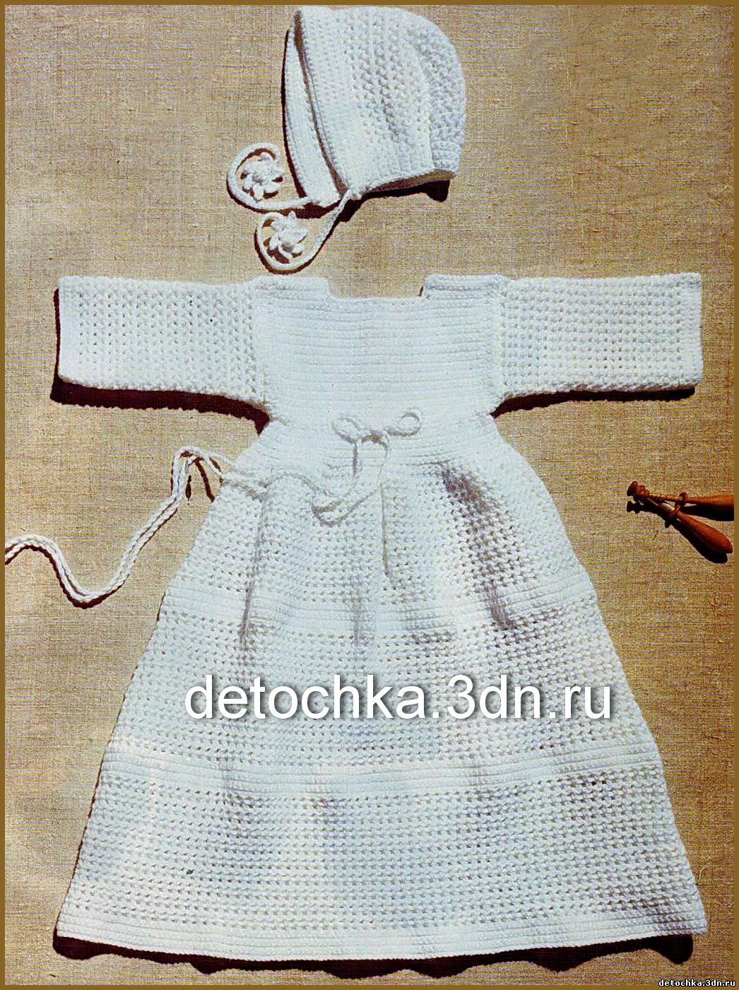 ...просто связать такой крестильный набор для девочки: крестильное платье и чепчик для девочки - все связано крючком.