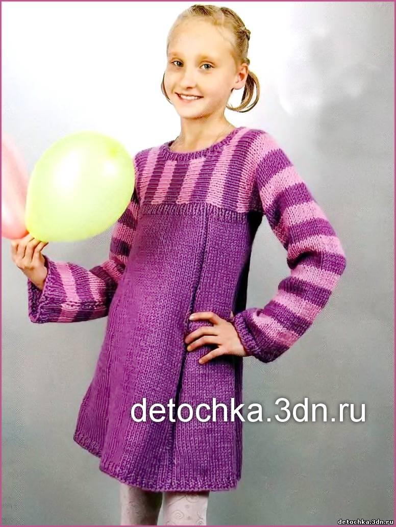 Вязание спицами теплое платье для девочки 29