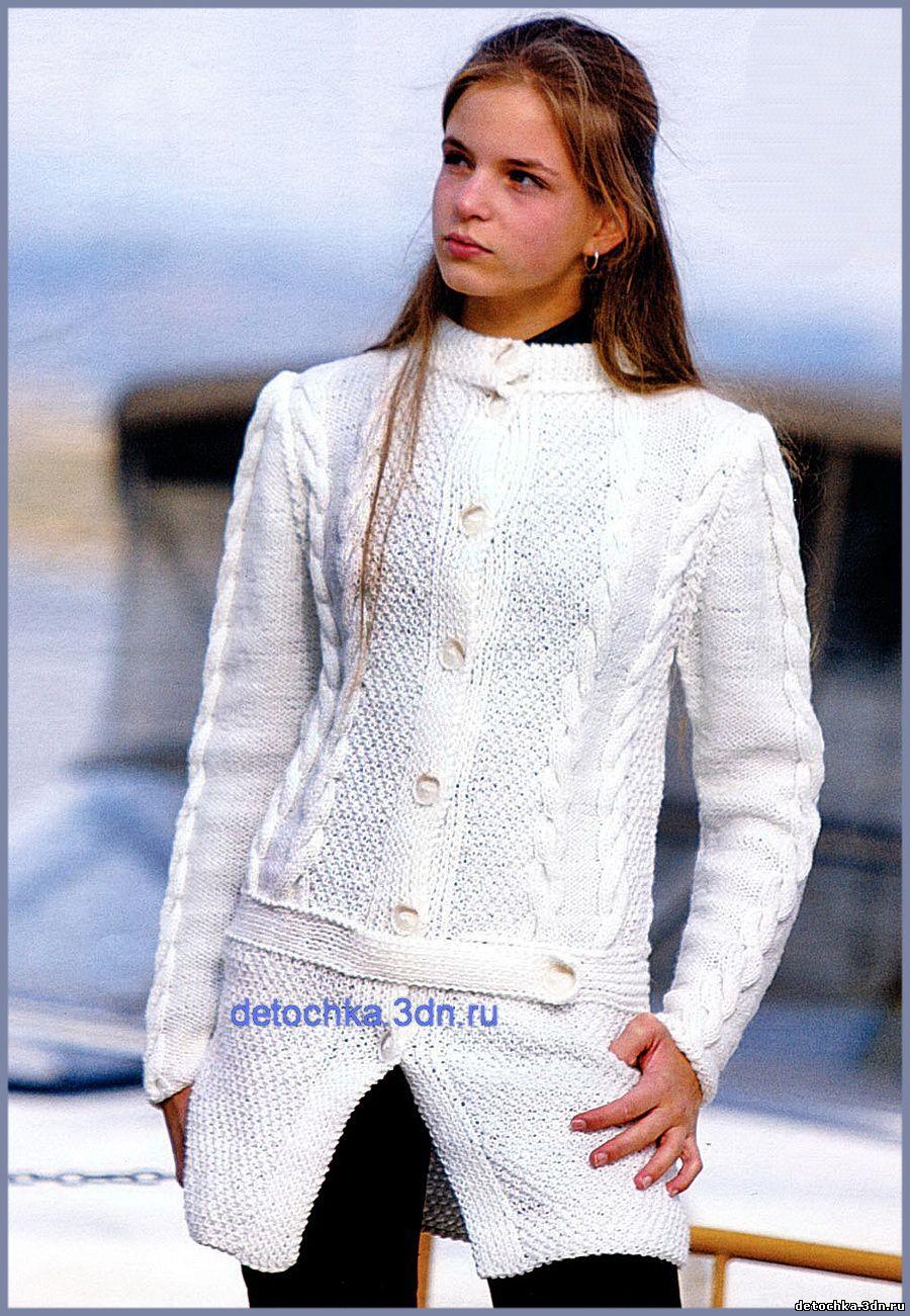 вязаное пальто на девочку 6 лет схема