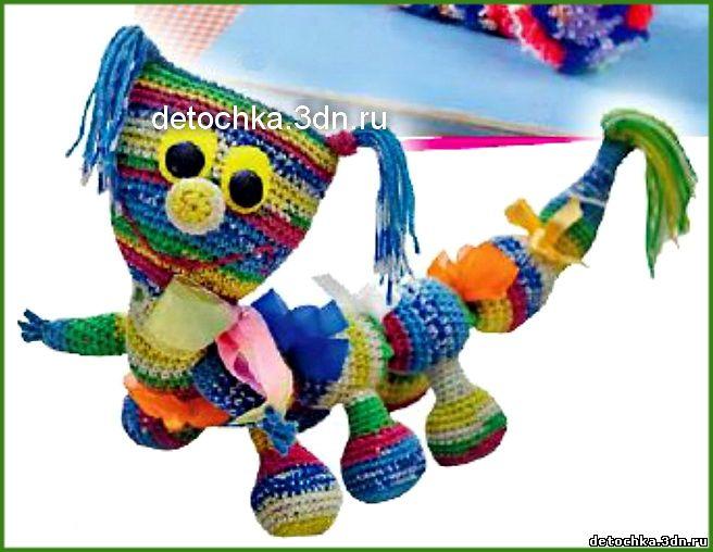 игрушка из остатков пряжи спицами схемы