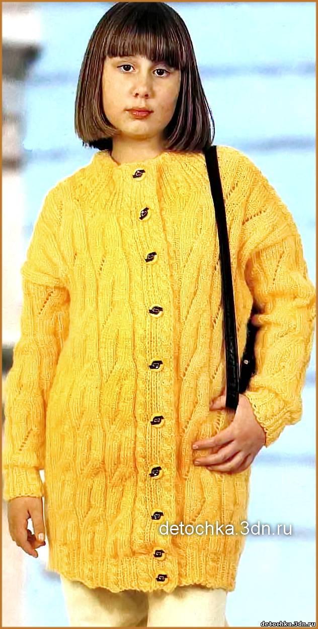 схема вязания кофты спицами для девочки